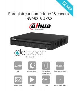 NVR DAHUA Enregistreur 16 voies IP 12M 4K DHI-NVR5216-4KS2