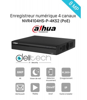 NVR DAHUA enregistreur 4 voies 8MP 4K IP/POE (DHI-NVR4104HS-P-4KS2)