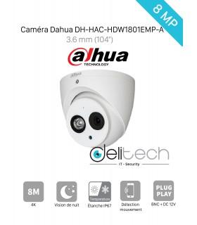 CAMÉRA Dahua MINI DOME 8MP 3,6mm HDCVI  (DH-HAC-HDW1801EMP-A)