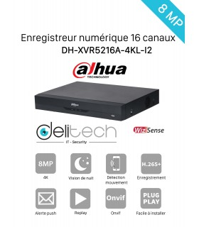 DVR / NVR DAHUA  Enregistreur 16 voies 4K DH-XVR5216A-4KL-I2