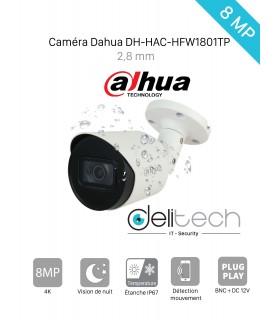 CAMÉRA Dahua 8 MÉGAPIXELS TUBE EXTERIEUR 2.8MM DH-HAC-HFW1801TP