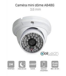 CAMÉRA VIDÉOSURVEILLANCE 1080P 2MÉGAPIXELS MINI DOME de Sécurité AHD 3,6mm Delitech A848G