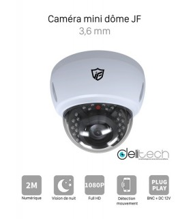 CAMÉRA VIDÉOSURVEILLANCE 1080P 2MÉGAPIXELS MINI DÔME de Sécurité 4 en 1 XVI/AHD/CVI/TVI 3.6mm JF Tech XVI-BM2320-IR2