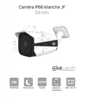 CAMÉRA VIDÉOSURVEILLANCE 1080P 2MÉGAPIXELS TUBE EXTERIEUR de Sécurité 4 en 1 XVI/AHD/CVI/TVI 3,6mm JF Tech XVI-ED2320-IR2