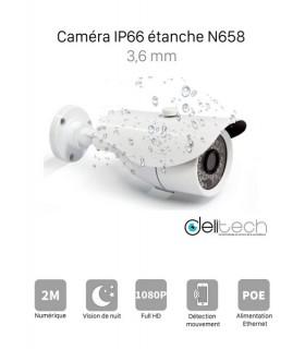 CAMÉRA VIDÉOSURVEILLANCE 1080P 2MÉGAPIXELS TUBE EXTERIEUR de Sécurité IP 3,6mm Delitech N658A