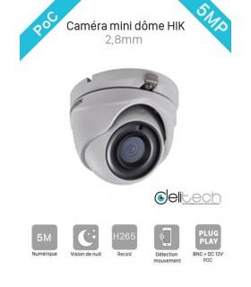 CAMÉRA HIK VISION DS-2CE56H0T-ITME MINI DOME TVI POC 2,8mm