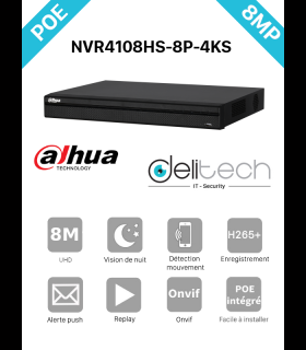 NVR Dahua enregistreur 8 voies 4K/8MP IP POE DHI-NVR4108HS-8P-4KS2)