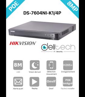 NVR HIK Vision enregistreur 4 voies 4K/8MP IP POE DS-7604NI-K1/4P