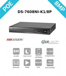NVR HIK Vision enregistreur 8 voies 8M IP DS-7608NI-K1/8P