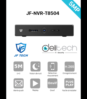 NVR JF TECH ENREGISTREUR 4 VOIES 5MP IP (JF-NVR-T8504)