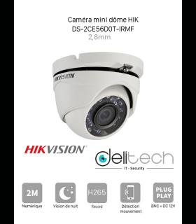 CAMÉRA HIK Vision mini dôme 2MP 2,8mm 4 en 1 TVI/AHD/CVI/CVBS  (DS-2CE56D0T-IRMF)