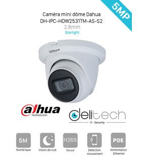 DH-IPC-HDW2531TM-AS-S2 CAMÉRA DAHUA 5MP 2,8mm Starlight AVEC AUDIO