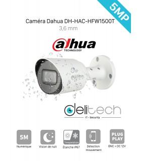 CAMÉRA Dahua 5 MÉGAPIXELS TUBE EXTERIEUR 3,6MM DH-HAC-HFW1500T