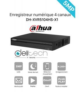 DVR / NVR DAHUA  Enregistreur 4 voies 5MP DH-XVR5104HS-X1