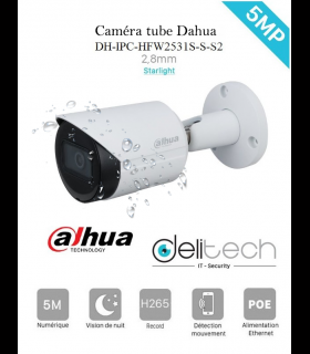 DH-IPC-HFW2531S-S-S2 CAMÉRA DAHUA 5MP 2,8mm Starlight
