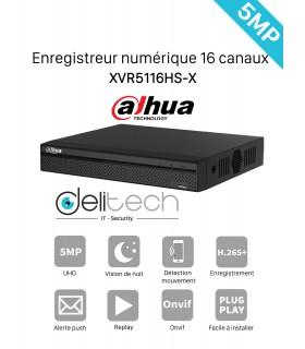 DVR / NVR DAHUA enregistreur 16 voies 5M 5 en 1 AHD/TVI/CVI/XVI/IP (XVR5116HS-X)