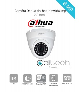 CAMÉRA Dahua MINI DOME 8MP 2,8mm HDCVI  (DH-HAC-HDW1800MP)